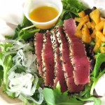 The Seared Ahi on a bed of Kula Greens with Mango Dressing is a standout at $8.50. Susan Halas photo.