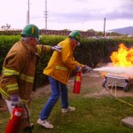 CERT training in fire suppression.  Photo courtesy Maui Civil Defense Agency.