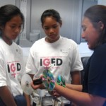 Dr. Dee Symonds, Trex Enterprises, spends time mentoring 7th grade girls interested in engineering. Courtesy of WIT/MEDB.