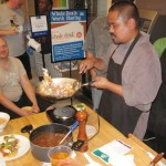 Chef Sheldon Simeon demonstrates a hearty beef stew incorporating taro and poi. Susan Halas photo.