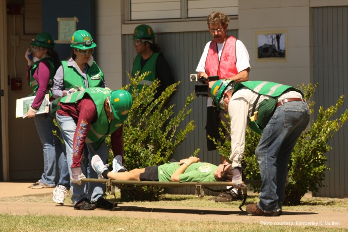 CERT training in fire suppression.  Photo by Kimberley K. Mullen, courtesy Maui Civil Defense Agency.