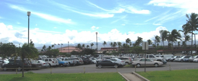 Kahului Airport parking. Maui Now file photo 2012.