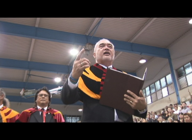 John Tomoso (forefront) performs a Hawaiian chant for an inaugural ceremony on Maui. Fellow Royal Order member, Carl Kaupalolo is picutred in the background. File photo by Wendy Osher.