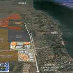 A graphic illustrating where the mall is to be built at the intersection of Kaonoulu St., mauka side of Piilani Hwy. Image obtained from public plans by Eclipse Development Group.