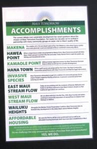 maui tomorrow accomplishments