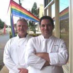 (From left) Owner & baker Daniel Southmayd and Chef John Webb stand in front of Vineyard Food Company. Courtesy photo.