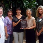 Shown here receiving the award are left to right:  Nancy Parker, MMMC Respiratory Therapist; Gail Miyahira, MMMC Program and Emergency Manager; Sonya Niess,  Maui Coordinator of the Coalition for a Tobacco-Free Hawaii; Dr. Colleen Inouye, MMMC Chief of Staff and Susan Carroll, MMMC Nurse Manager. Courtesy photo.