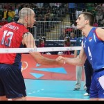 USA captain Clay Stanley, a former University of Hawaii standout, shakes the hand of the captain from Serbia before their match Sunday. 2012 FIVB photo.