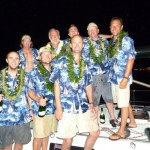 The crew of the Double-Take celebrates after coming in first last night in the Victoria-Maui Yacht Race 2012. Photo courtesy of Vic-Maui.