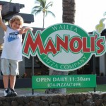 The restaurant is named after Aaron's father, Manoli, and also his son, Manoli, picture here. Photo courtesy of Manoli's Pizza Company.