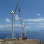 The last turbine of First Wind's Kahaewa Phase II wind farm is installed. Photo courtesy of First Wind.