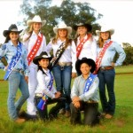 Back from left, Alice Hale De Rego, Nikki Baroso, 2012 Makawao Rodeo Queen Laren Egger, Jessica Hartley, and Kristen Egger. Kneeling, from left, Lehiwa Apo and Cameron Russell. Photo courtesy of Maui Roping Club & Auxiliary.