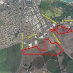 Maui Business Park Phase II highlighted in red. Photo courtesy of A&B.