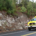 Fire crews respond to reports of a vehicle over the cliff at MP 10 of the Kahekili Highway on Maui.  Photo by Wendy Osher..