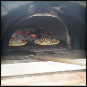 In the homemade wood burning oven-outrigger-pizza