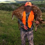 The first axis deer shot on the Big Island is shown in this photo taken in April. The face of the hunter hired by the state has been intentionally blurred. File photo.