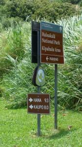 Kipahulu, Haleakala National Park signage.  Photo by Wendy Osher.