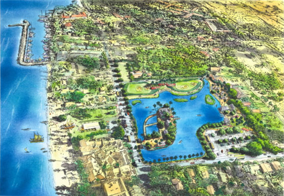 Artist rendering of the envisioned restored Moku'ula. Image courtesy Friends of Moku'ula.