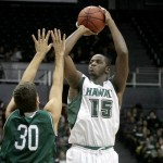 Returning center Vander Joaquim (15) will lead Hawaii in 2012-13. File photo by UH Athletics.