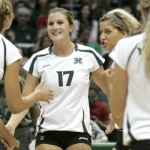 Hawaii's Emily Hartong (17), Jade Vorster (9), and Kaela Goodman (2) will be back in action on Friday when UH faces San Diego State at 7 p.m. Photo by UH Athletics.