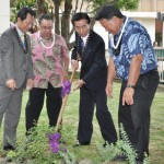 Rose Planting Ceremony in front of the County Building (L- R) Assembly Chair Shigehiro Kobayashi, Council Chair Danny Mateo. Deputy Mayor Keisen Hori, and Mayor Arakawa. Photo courtesy of County of Maui.