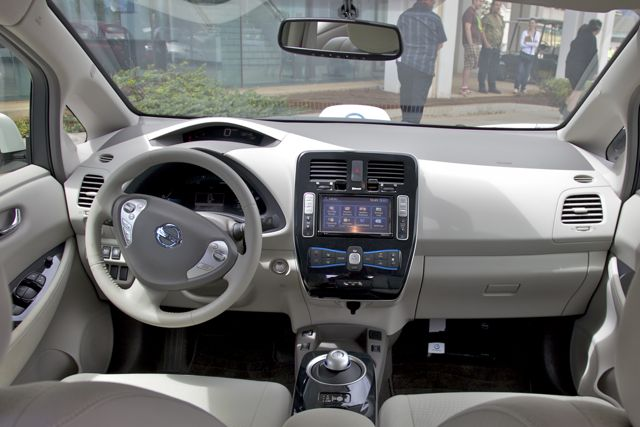 Interior of the Nissan leaf electric vehicle. Photo by Jenna Thomas.