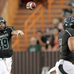 Hawaii quarterback Sean Schroeder (19) delivers a pass to Joey Iosefa during last Saturday's game against Lamar at Aloha Stadium. Photo by UH Athletics.