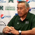 Hawaii head coach Norm Chow at his weekly new conference on Monday. Photo by UH Athletics.
