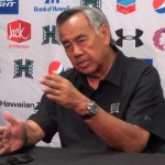 Hawaii football coach Norm Chow talks to the media Monday about Saturday's 49-10 loss to top-ranked USC. Photo by UH Athletics.