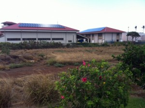 Solar panels on the Kahului fire station, in an effort to reduce electricity costs for the county. File photo by Anne Rillero.