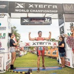 Javier Gomez Noya crossed the finish line first in Sunday's XTERRA World Championships held at Kapalua. Nova was 47 seconds ahead of second-place finisher Josiah Middaugh in his first appearance. Photo by XTERRA Photos.