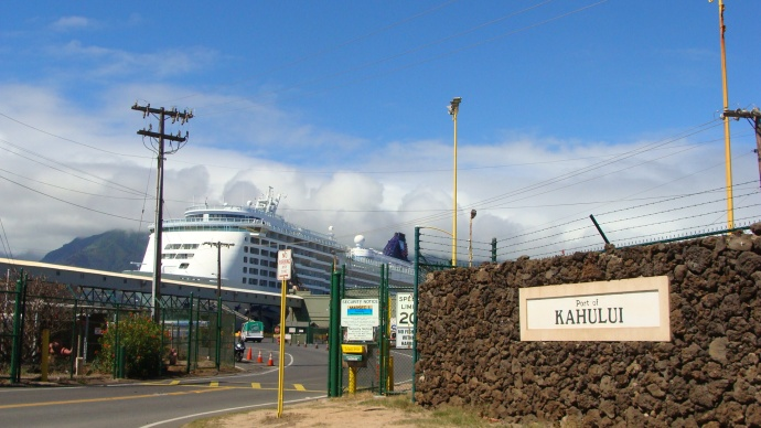 Port of Kahului, photo by Wendy Osher. Hours after a tsunami warning was cancelled, activity in Kahului Harbor began resuming to normal operations. The Pride of America cruise ship has pulled into port as depicted in this photo taken on Sunday morning, 10/28/12.