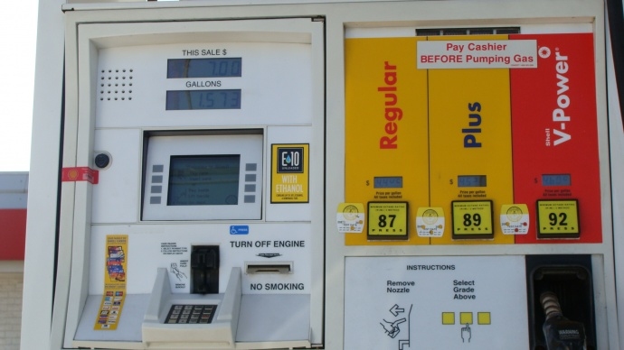 Central Maui gas pump, file photo by Wendy Osher.