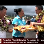 Mayor Alan Arakawa (left) and Sen. J. Kalani English (right) were among the dignitaries aboard the inaugural relaunch flight.  Photo by Wendy Osher.