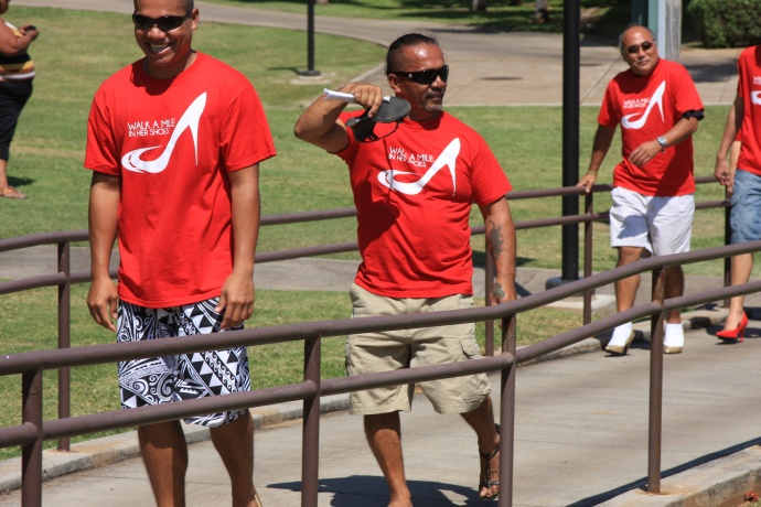 """Participants in last year's """"Walk a Mile In Her Shoes"""" at the UHMC campus. Courtesy photo."""
