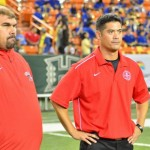 Lahainaluna assistant coach Kekoa Mowat (left) and co-head coach Garret Tihada at Aloha Stadium. Photo by Glen Pascual.