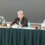 UH President M.R.C. Greenwood (center) and UH Regents at a recent Board meeting on Maui. File photo by Wendy Osher.