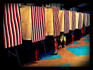 Maui voter booth, file photo by Wendy Osher.