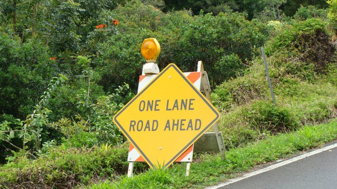 Hana Highway, road repair work. Photo by Wendy Osher.
