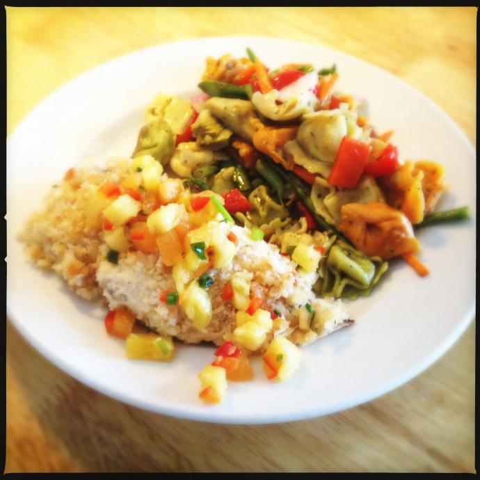 Vineyard Food Company's Mahi Mahi with a side of tortellini salad. Photo by Vanessa Wolf