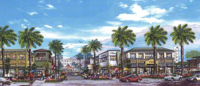 Proposed Downtown Kihei Project, View Along Piikea Avenue Towards Hotel. Rendering produced for The Krausz Companies, Inc., prepared by Munekiyo & Hiraga, Inc.