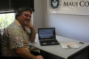 University of Hawaiʻi Maui College faculty member Keola Donaghy with a laptop running Windows 8 with support for Hawaiian language. Courtesy photo, UHMC.