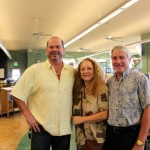 Lahaina Library branch librarian Madeleine Buchanan, interior planner Rick Cowan (left) and State Librarian Richard Burns celebrate the happy result standing on RVS Construction's green and beige floor. Photo courtesy of HSPLS.