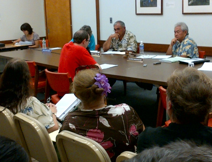 PLDC hearing on O'ahu.  There was also an overflow area set up outside the room with a TV screen for those that were unable to fit in the public hearing room.  Photo courtesy Mahina Martin.