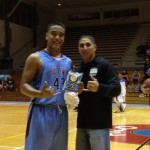 "Baldwin's Teva Eldridge receives the National Guard's ""Impact Player of the Game"" award following Thursday's 65-51 win over Waiakea. Photo credit: Josh Pacheco."