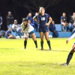 King Kekaulike sophomore Nikki Musto puts away this penalty kick in the 69th minute to cap the scoring 2-0 against Kemehameha Maui on Friday at Kekaulike Stadium. Photo by Rodney S. Yap.
