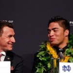 Texas A&M quarterback Johnny Manziel (left) shares a moment with Hawaii-born Manti Te'o at the Heisman Trophy awards ceremony Saturday in New York. Photo by Mike Stobe/Getty Images.