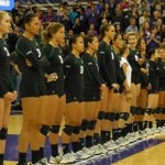 The University of Hawaii Rainbow Wahine prior to the start of Saturday's match against Washington in Seattle. Photo by UH Athletics.