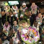 The Hawaii seniors pose for a group photo following their Senior Walk Saturday at Aloha Stadium. Photo by UH Athletics.
