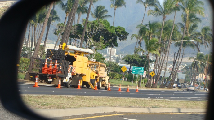 Electric work on Maui, file photo by Wendy Osher.